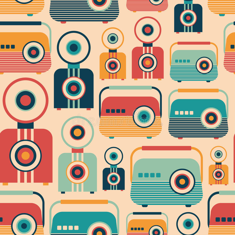 Seamless pattern with colorful retro radios and cameras. royalty free illustration