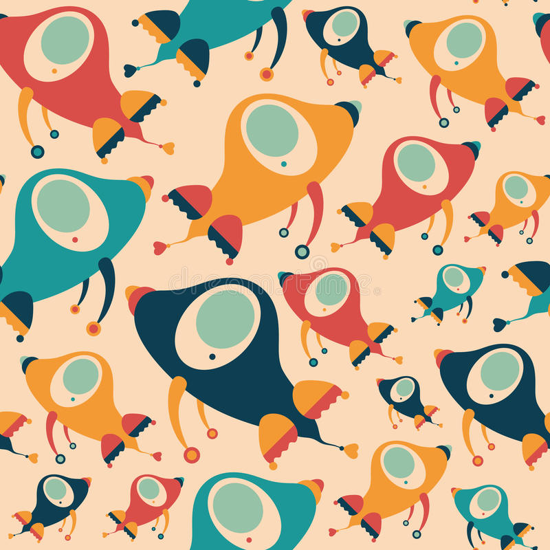 Seamless pattern with colorful retro rockets. royalty free illustration