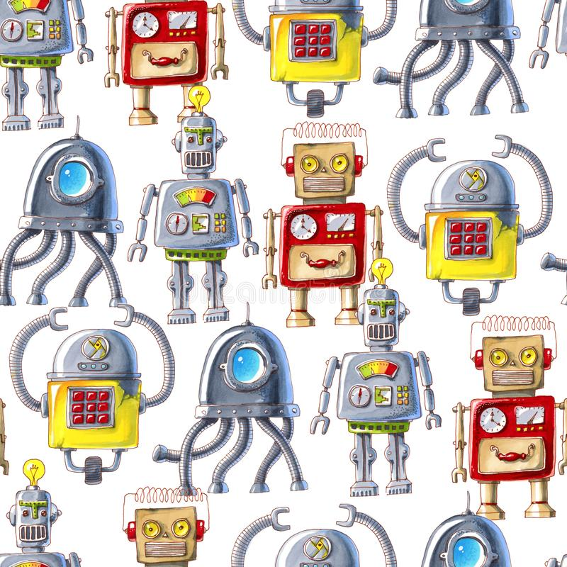 Seamless pattern of colorful robots on white background. stock illustration