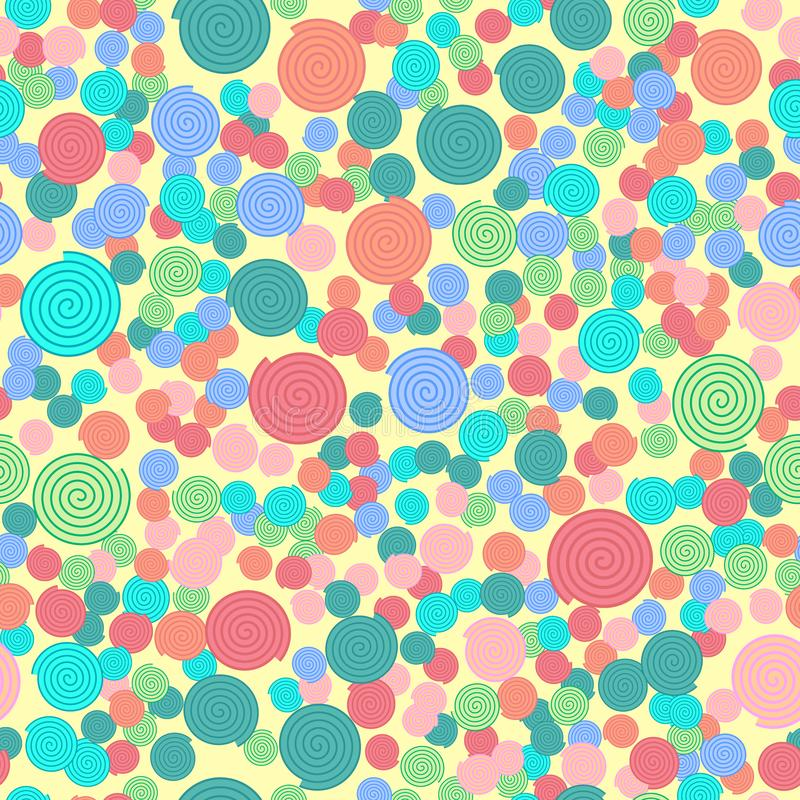 Seamless pattern with colorful simple spiral elements on light yellow background, stock illustration