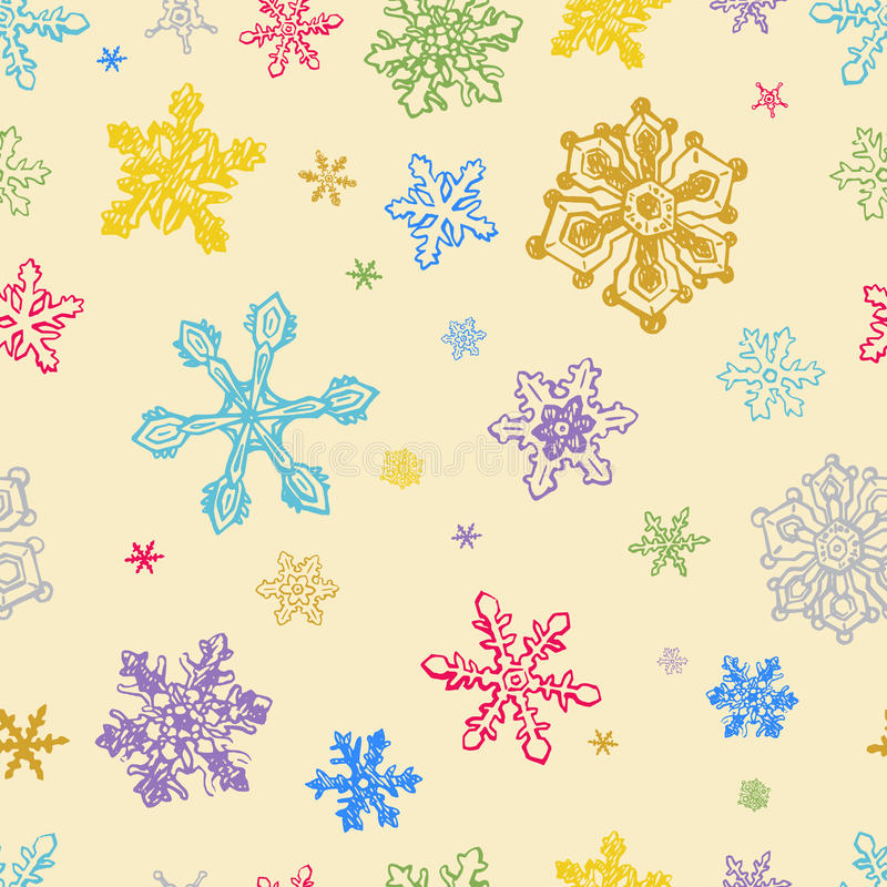 Seamless Pattern of Colorful Snowflakes. Bright seamless pattern with colorful snowflakes stock illustration