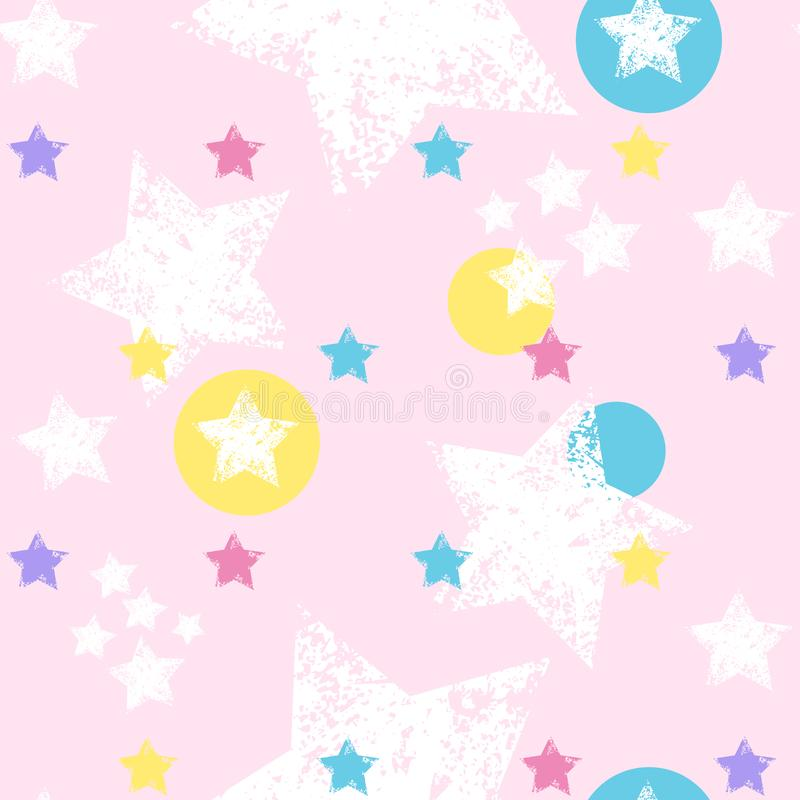 Seamless pattern with colorful stars. Grunge stars Vector. Illustrations vector illustration