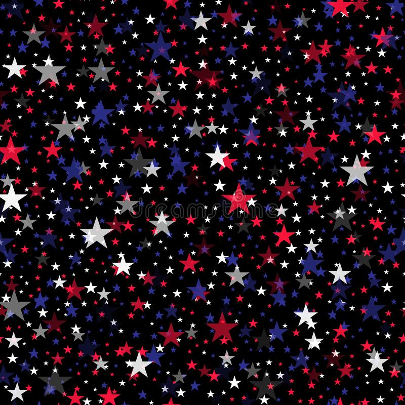 Seamless pattern with colorful stars for 4th July. Vector. royalty free illustration