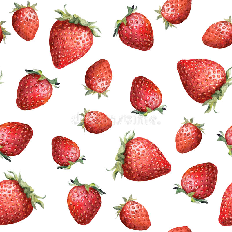 Seamless pattern with colorful strawberry. Aquarelle royalty free stock photo