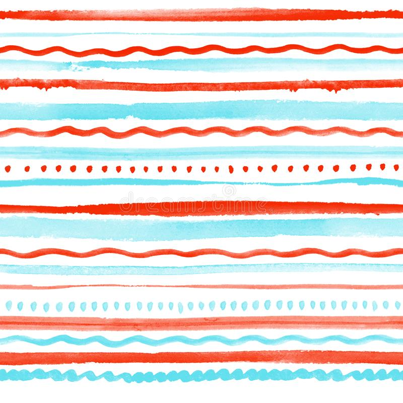 Seamless pattern with colorful stripes, dots and waves vector illustration