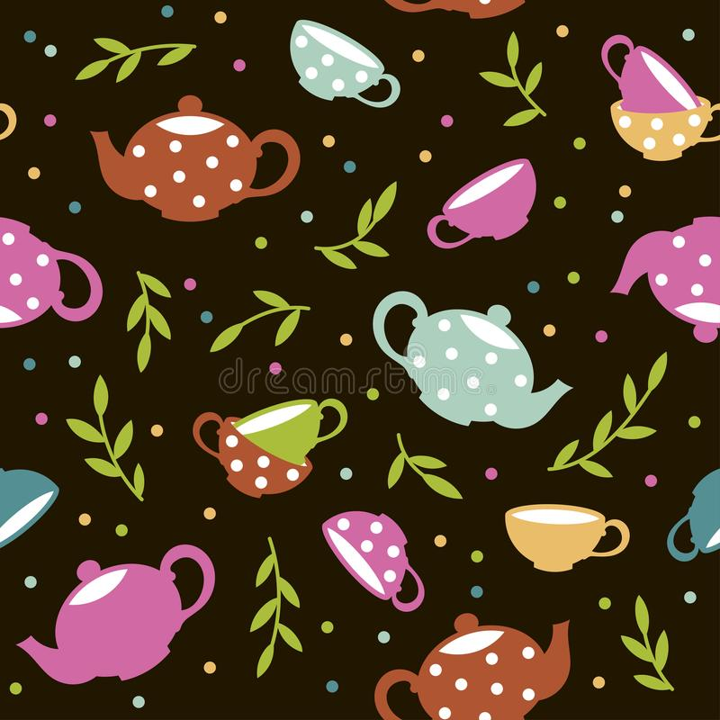 Seamless pattern with colorful teapots and cups. Vector template stock illustration