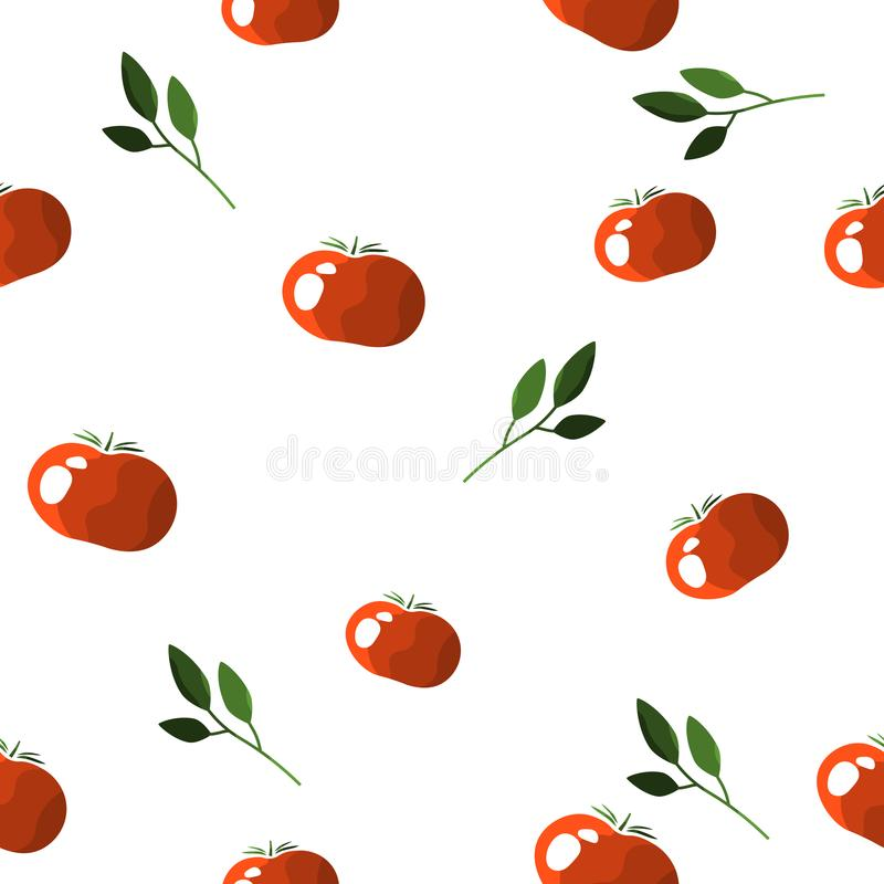 Seamless pattern of colorful tomatoes on a white background with sprigs of greens. Vector. royalty free illustration