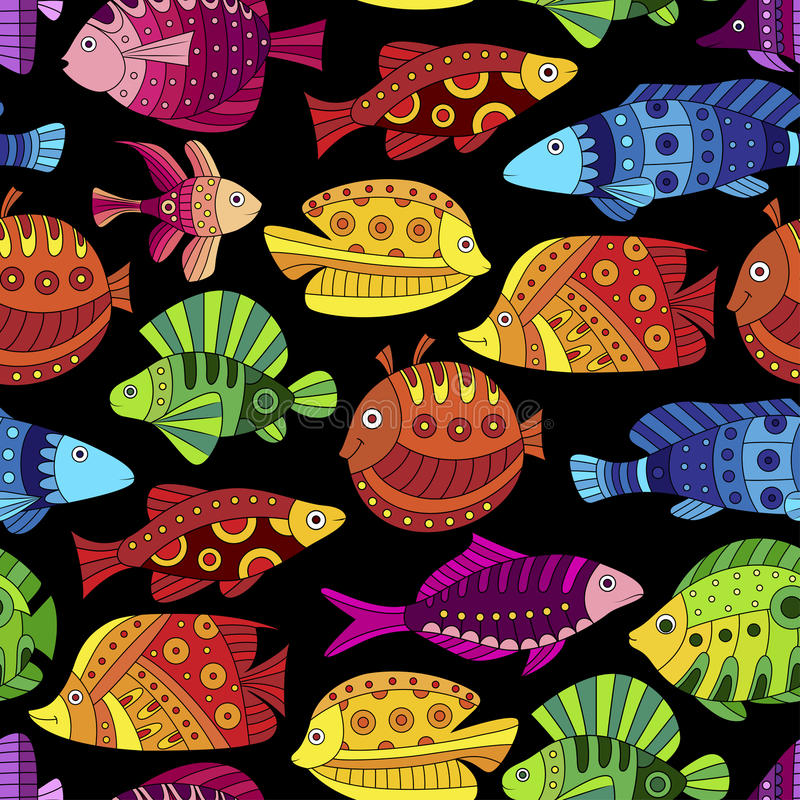 Seamless pattern with colorful tropical fish stock illustration