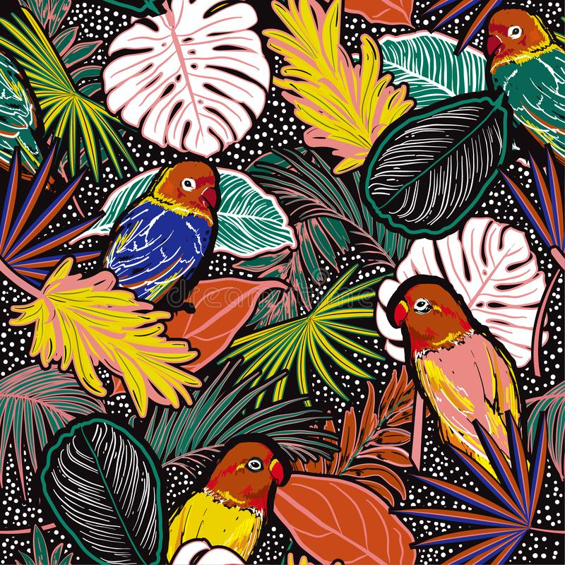 Seamless pattern of colorful Tropical  forest with leaves , parrots, palm leaves, polka dots, birds and floral royalty free illustration