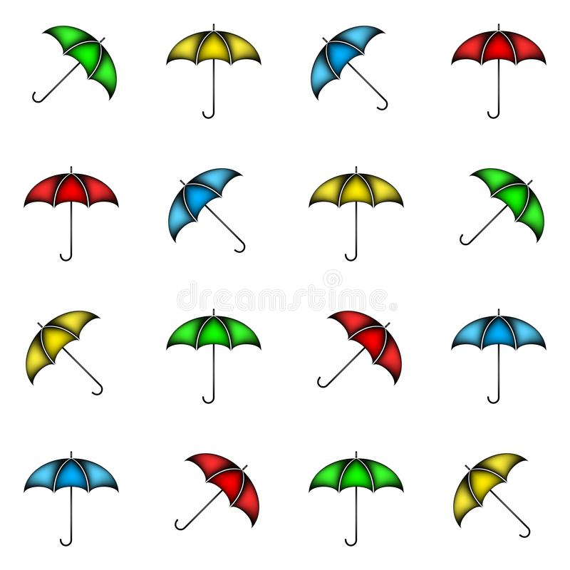 Seamless pattern of colorful umbrellas, background. Design vector illustration