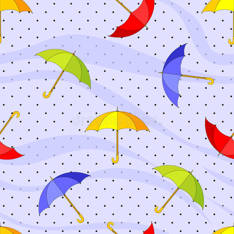 Seamless pattern with colorful umbrellas and raindrops. Vector illustration stock illustration