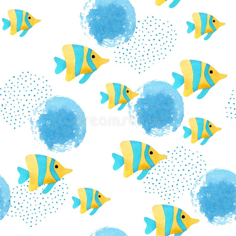 Seamless pattern with colorful watercolor fishes. Hand-drawn watercolor elements. Sea life. Underwater vector illustration