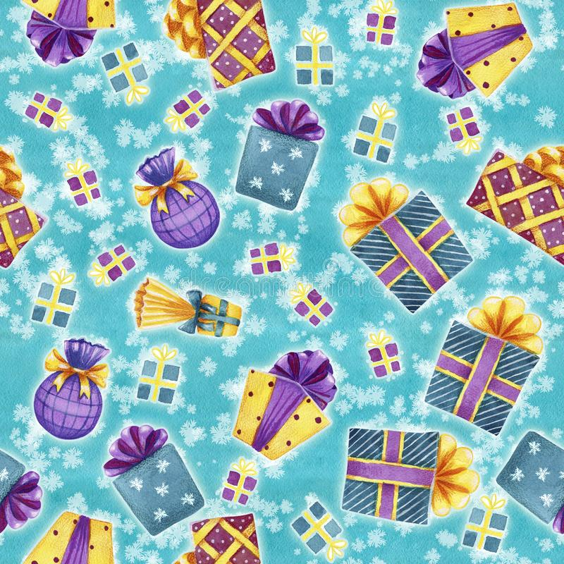 Seamless pattern with colorful watercolor gift boxes on snowfall royalty free illustration