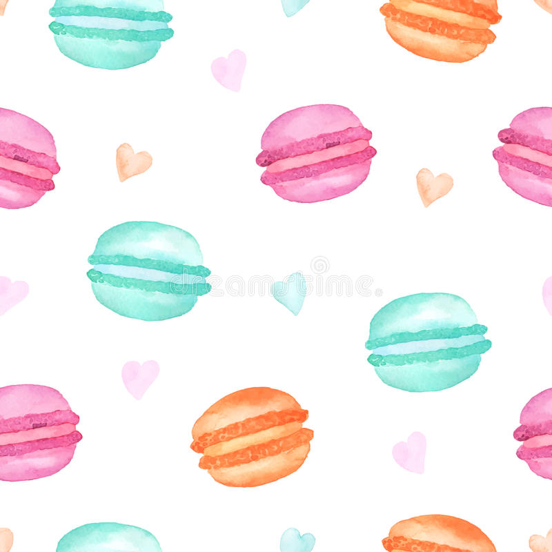 Seamless pattern colorful watercolor macaroons stock illustration