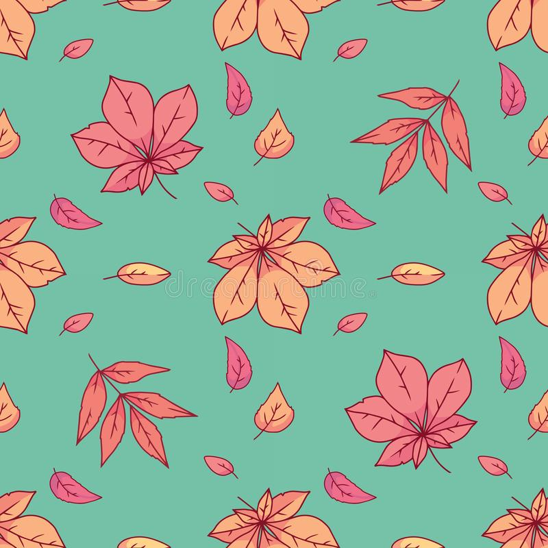 Seamless pattern with colorful yellow, and orange seasonal autum leaves on green background vector illustration