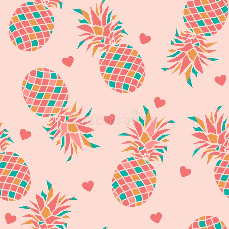 Colourful pineapples with hearts on pink background. royalty free illustration