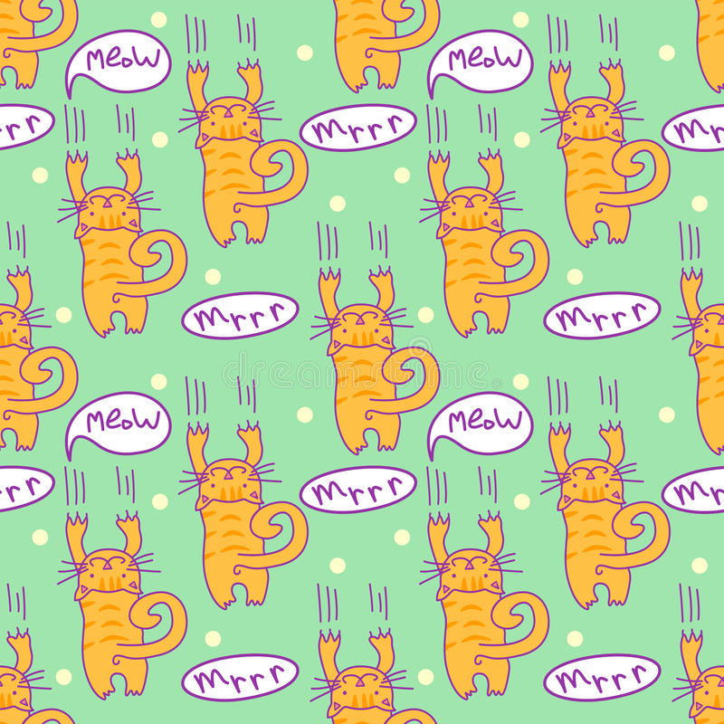 Seamless pattern with comic cartoon cat. Scratching kitten with speech bubbles. Simply editable vector texture for fabric, cover, vector illustration