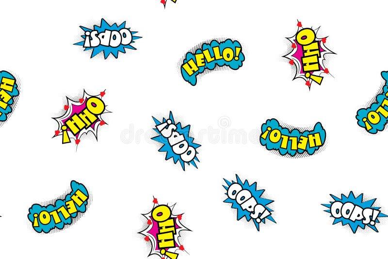 Seamless pattern comic speech bubbles royalty free illustration
