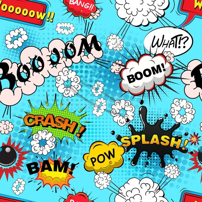 Seamless pattern comic speech bubbles vector vector illustration