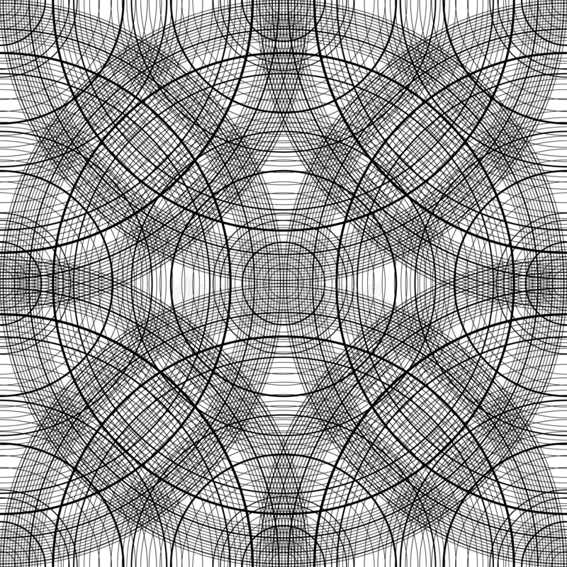 Seamless pattern with concentric circles. Black-white background scheme with arcs. Abstract texture vector illustration