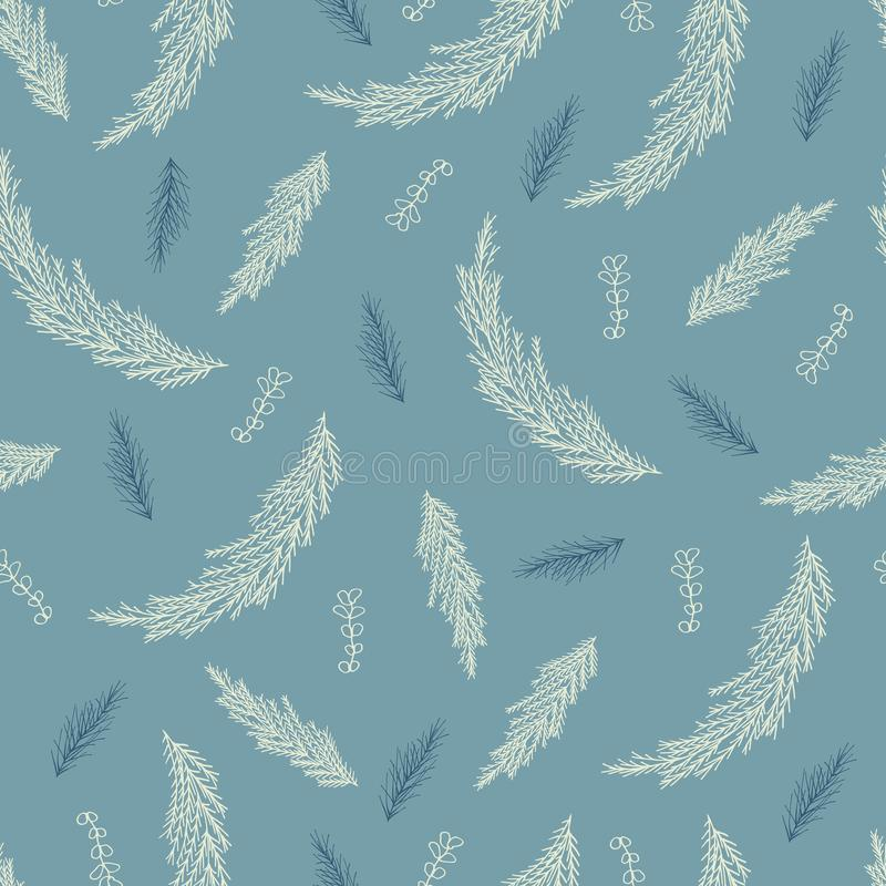 Seamless pattern of coniferous twigs isolated on blue background stock illustration