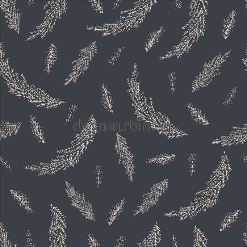 Seamless pattern of coniferous twigs with a white outline vector illustration