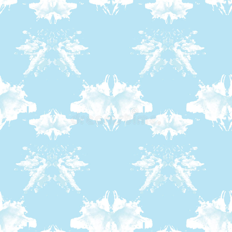 Seamless pattern , consisting of a modified watercolor blots depicting Rorschach stock illustration