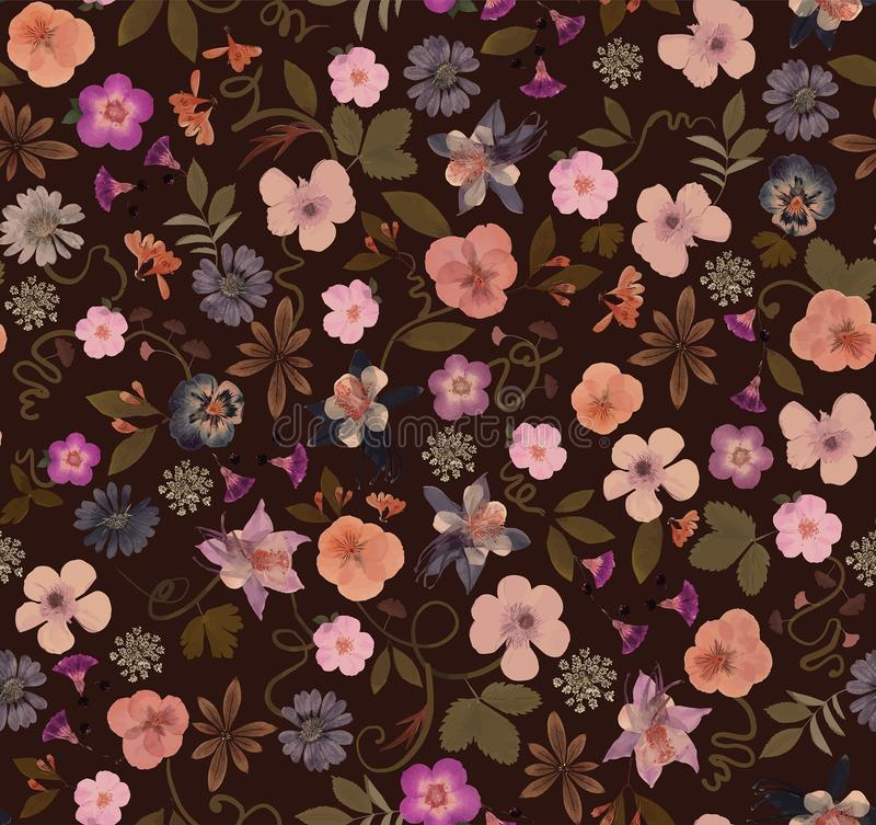Seamless pattern consisting of pressed flowers different sizes stock images