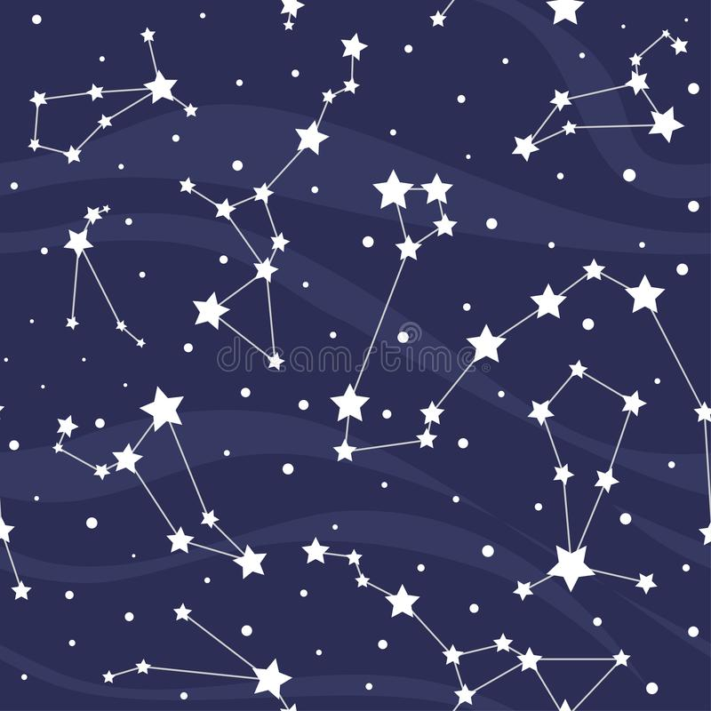 Seamless pattern with constellations. Space background with stars royalty free illustration