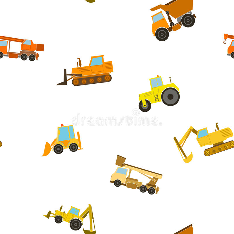Seamless pattern construction machines. For your design vector illustration