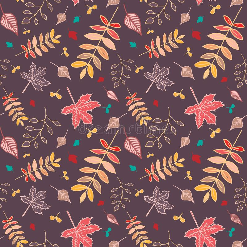 Autumn leaves seamless pattern with reddish-brown background. stock images