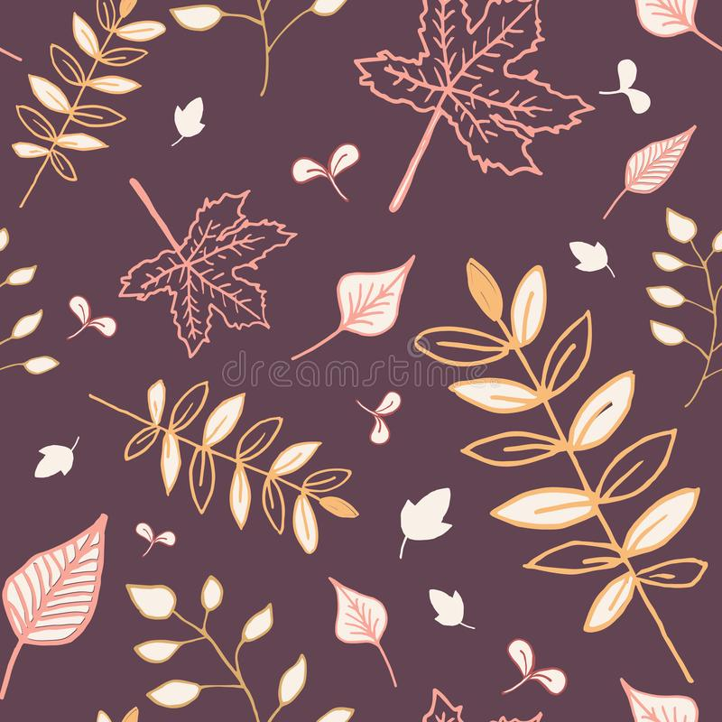 Autumn leaves seamless pattern with reddish-brown background. royalty free stock images