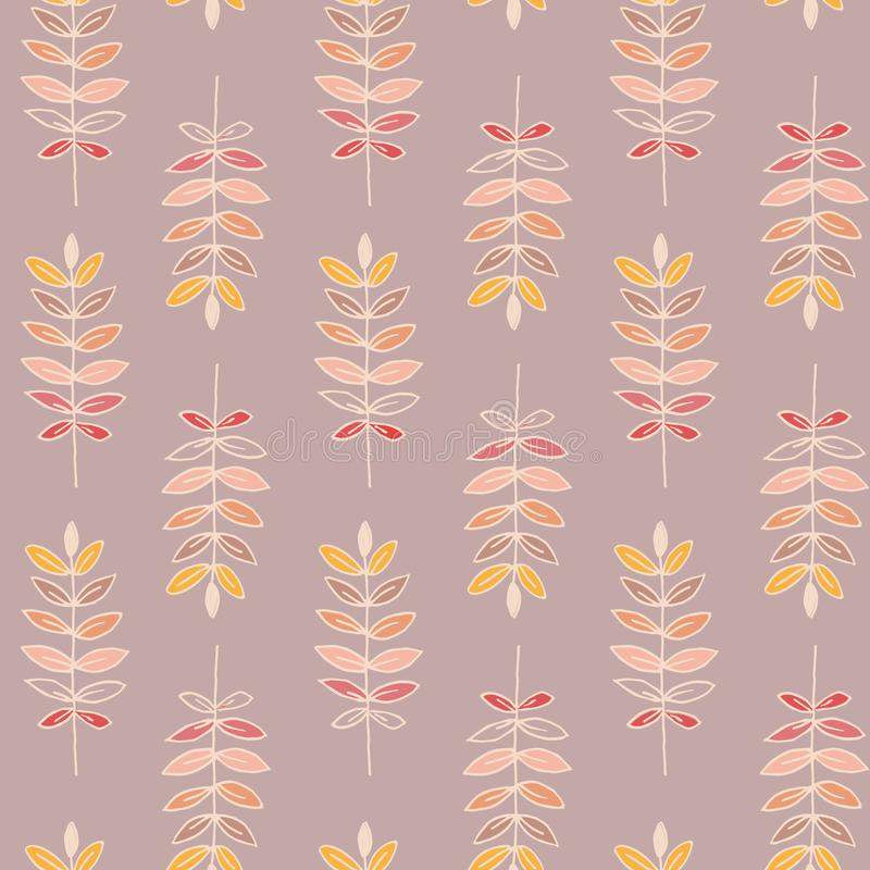 Colorful wheat seamless pattern with pale pink background. royalty free stock image