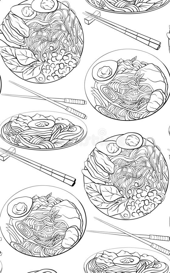 Seamless pattern with contour black and white cartoon illustration of ramen in different angles. Noodles. Vector texture stock illustration