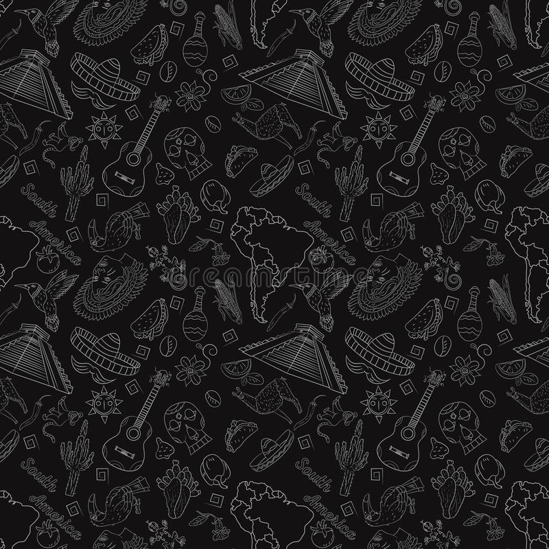 Seamless_4_pattern, contour drawing on South America theme, animals, people, buildings, plants, holidays, continent map. Vector seamless pattern, contour drawing royalty free illustration