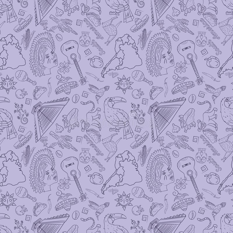 Seamless_3_pattern, contour drawing on South America theme, animals, people, buildings, plants, holidays, continent map. Vector seamless pattern, contour drawing royalty free illustration