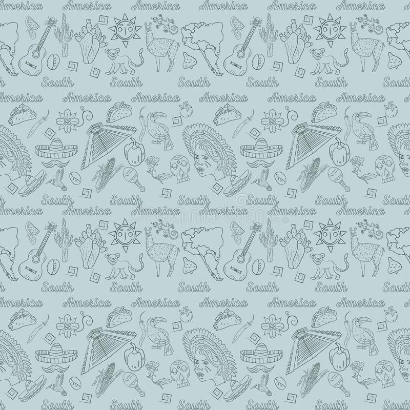 Seamless_2_pattern, contour drawing on South America theme, animals, people, buildings, plants, holidays, continent map. Vector seamless pattern, contour drawing stock illustration
