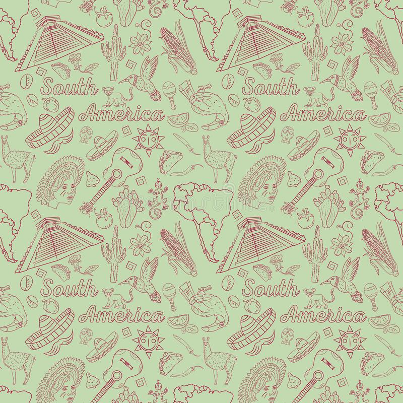 Seamless_1_pattern, contour drawing on South America theme, animals, people, buildings, plants, holidays, continent map. Vector seamless pattern, contour drawing vector illustration