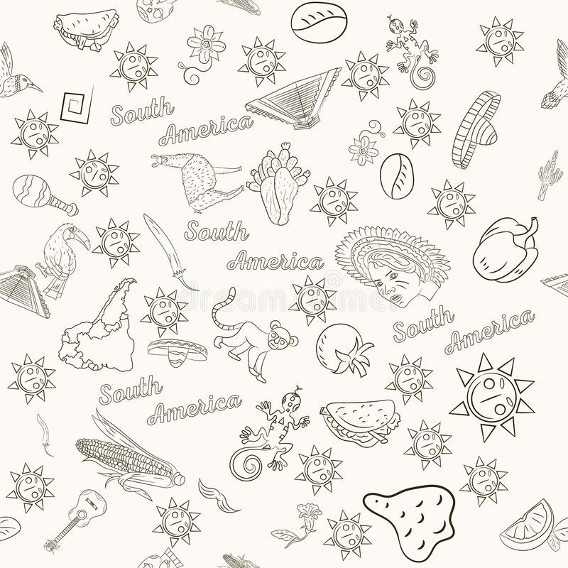 Seamless_5_pattern, contour drawing on South America theme, animals, people, buildings, plants, holidays, continent map. Vector seamless pattern, contour drawing stock illustration
