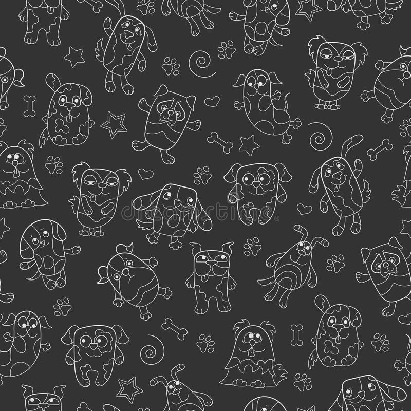 Seamless illustration with contour images cartoon dogs , light outline. Seamless pattern with contour images cartoon dogs , light outline on a dark background vector illustration