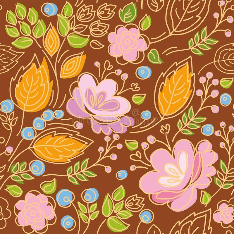 Seamless pattern, contour, pink flowers, yellow leaves, blue berries, brown background. Floral pattern with pink flowers, blue berries, green and yellow leaves vector illustration