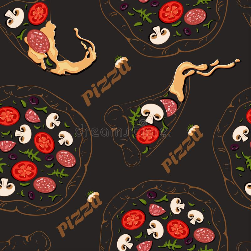 Seamless pattern of contour pizzas and pizza slices with color ingredients stock illustration