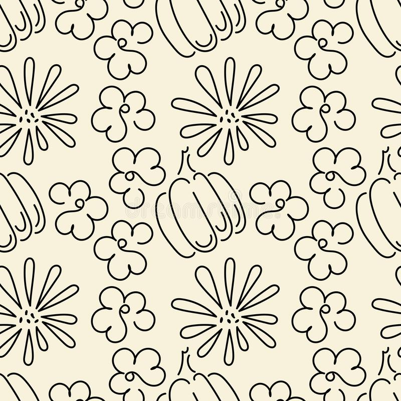 Seamless pattern. The contours of the pumpkin and flowers. The autumn theme. Vector background stock illustration