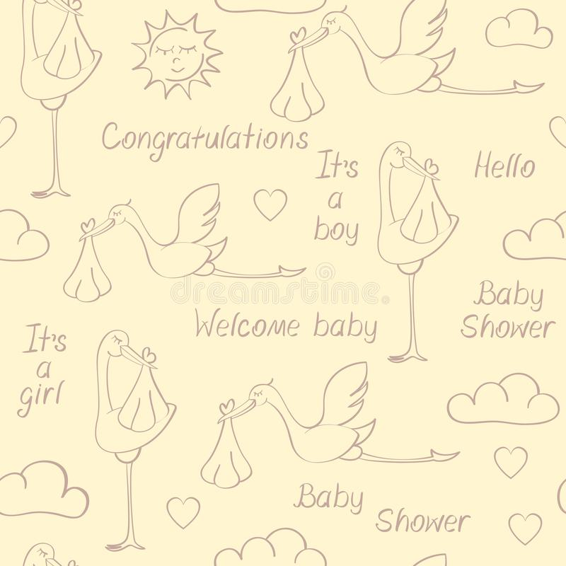 Seamless pattern with storks, babies and phrases. Seamless pattern with contours of storks, babies and phrases. Suitable for wallpaper, wrapping or textile royalty free illustration