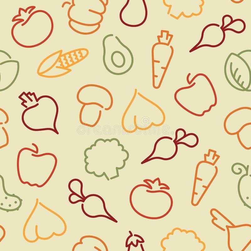 Seamless pattern with contours of vegetables vector illustration