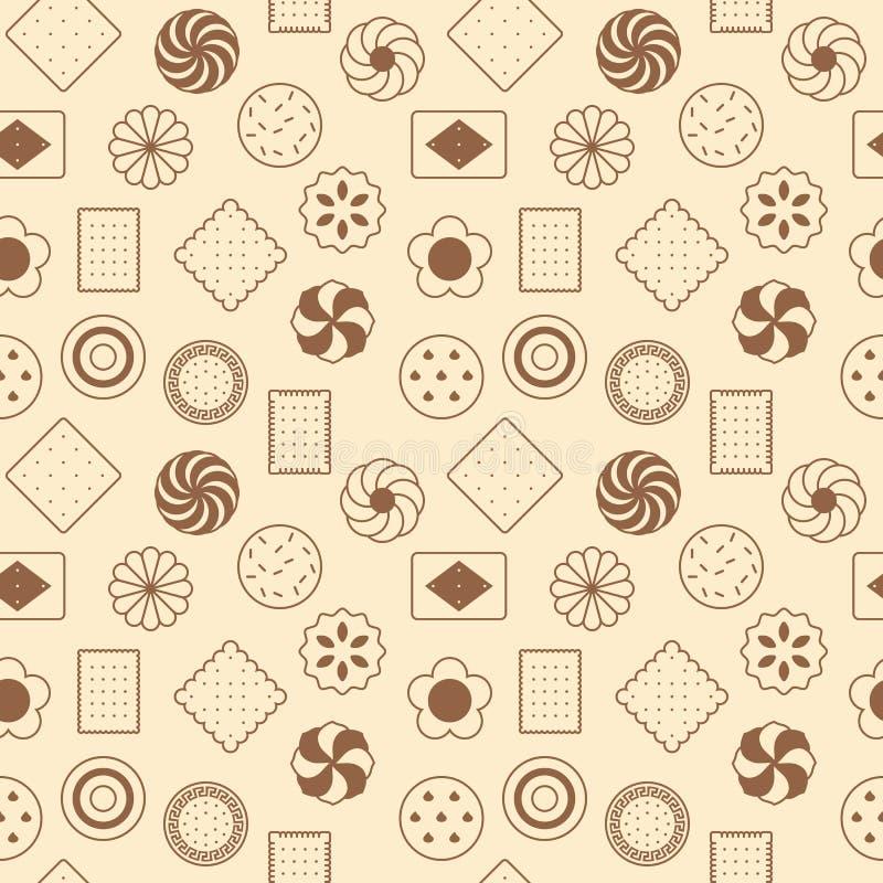 Seamless pattern of cookies vector illustration