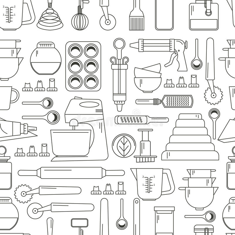 Seamless pattern cooking icons stock illustration