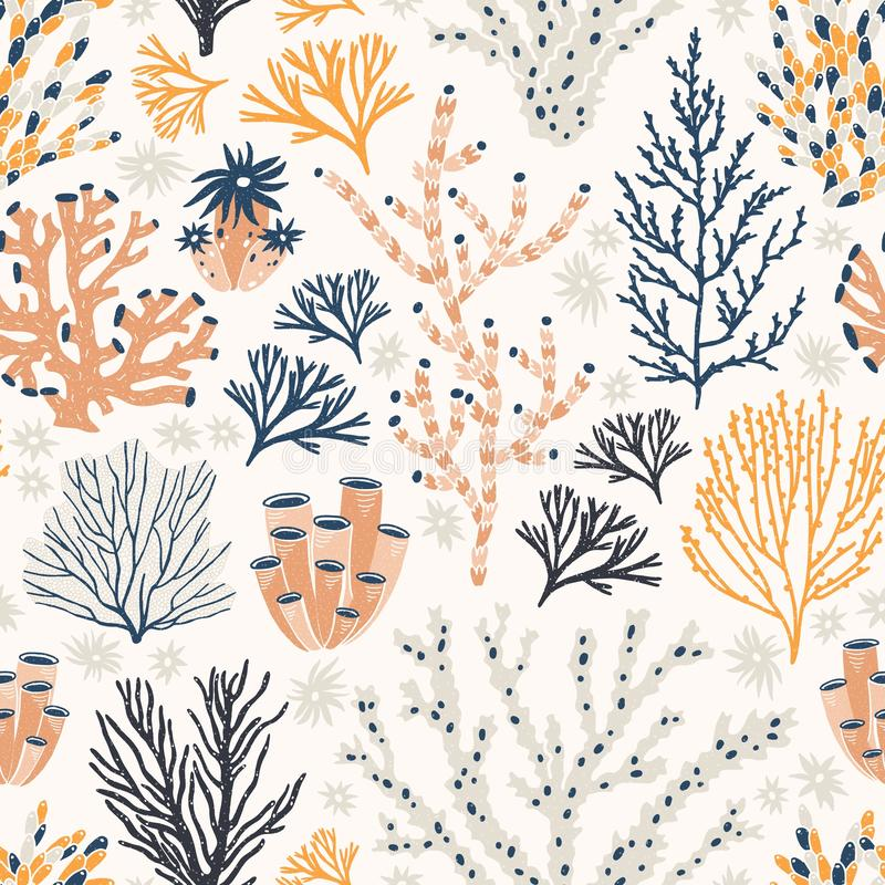 Seamless pattern with corals and seaweed or algae on white background. Backdrop with exotic seabed species, underwater. Creatures. Flat colorful vector stock illustration