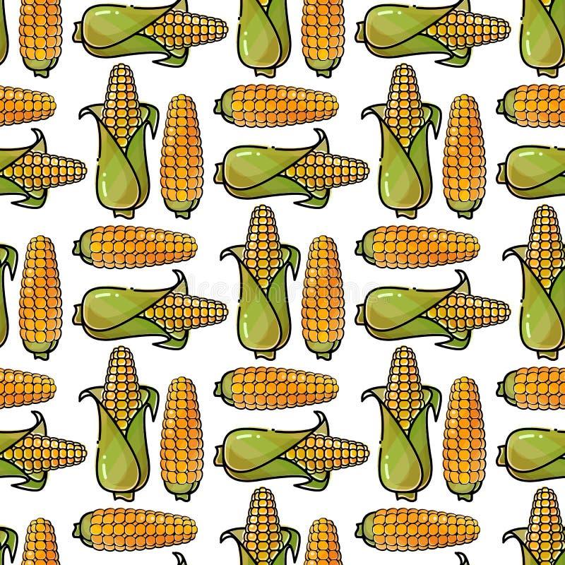 Seamless pattern with cartoon corn. Vector background. vector illustration