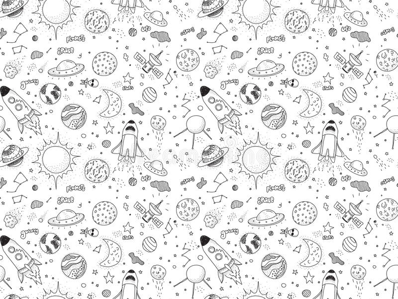 Seamless pattern. Cosmic objects set. Hand drawn vector doodles. Rockets, planets, constellations, ufo, stars, etc vector illustration